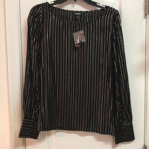 EXPRESS BLACK LONG SLEEVED BLOUSE W/GOLD THREAD